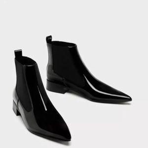 Zara Black Patent Points Toe Booties
